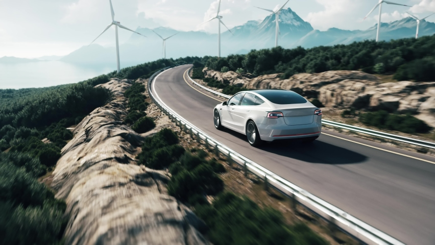 Electric car drive on the wind turbines background. Car drives along a mountain road. Electric car driving along windmills farm. Alternative energy for cars. Car and wind turbines farm. 3d animation Royalty-Free Stock Footage #1070160847