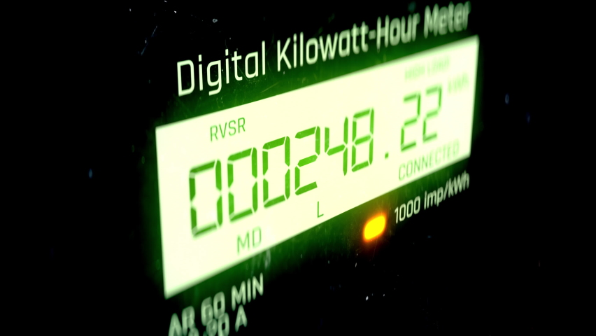Modern electric meter measuring electrical energy consumption, utility billing Royalty-Free Stock Footage #1070185306