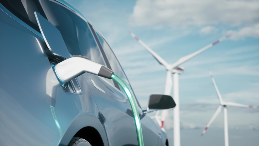 Car charging on the background of a windmills. Charging electric car. Electric car charging on wind turbines background. Vehicles using renewable energy. 3d visualization