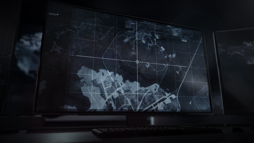 Using the newest spying technology. Radar Data. Identifying the Royal Australian Air Force military airbase. Footage from the satellite cameras being broadcasted. Computer User Interface. Screens. | Shutterstock HD Video #1070230420