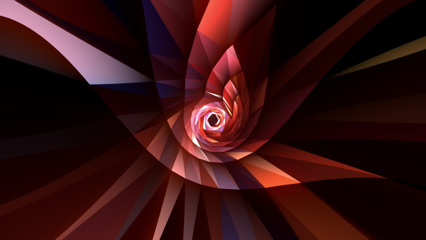 Abstract Loop able glowing and flickering fractal futuristic technology geometric flower shape pattern rotation. 4K 3D seamless loop. Sci-Fi background illuminated red color geometric shapes rotating. Royalty-Free Stock Footage #1070281396