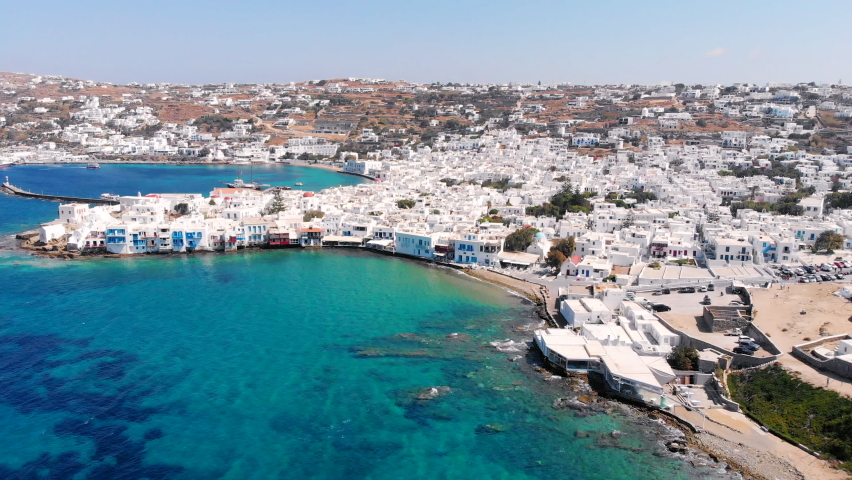 Panoramic rotating view of Mykonos town at summer Cyclades Greece.   Shutterstock HD Video #1070363830
