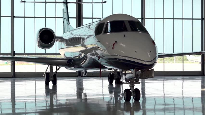 Private Jet  in Hangar Daytime