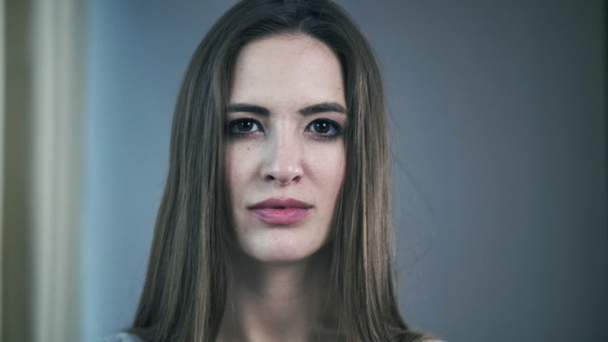 Front Closeup Portrait Of Young Woman Looking Friendly At Camera. Human Face, Natural Make Up