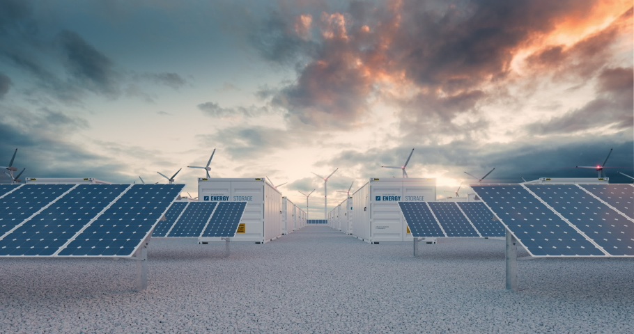 Battery storage power station  accompanied by solar and wind  turbine power plants. 3d rendering clip Royalty-Free Stock Footage #1070422102