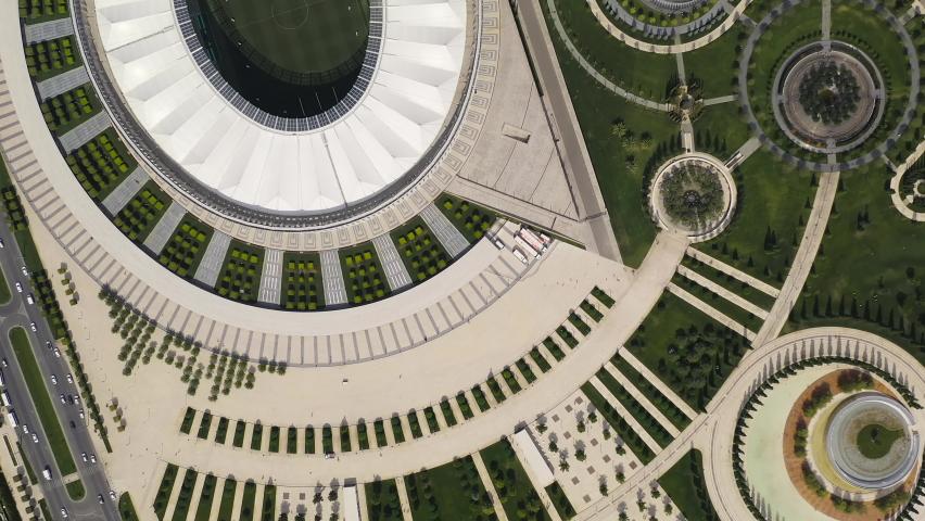 Krasnodar, Russia - August 29, 2020: Krasnodar - football stadium of the eponymous club in the city of Krasnodar. Public Park Krasnodar (Galitsky Park). Summer aerial view, Aerial View, HEAD OVER SHOT