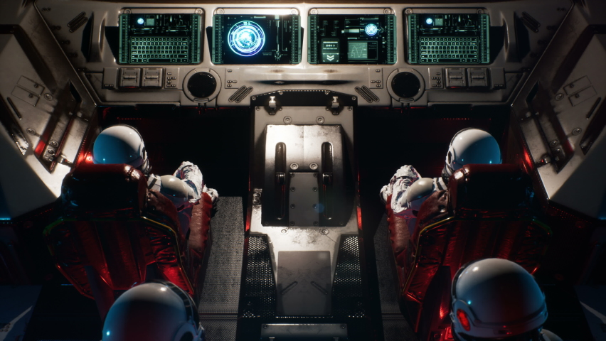 Astronauts fly through a space portal in an interstellar spacecraft. The animation is for fantastic, the futuristic or space travel backgrounds. View of the spacecraft with an astronaut.