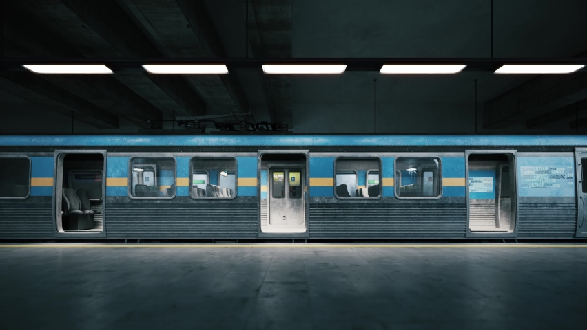 Subway train arriving to empty metro station. Empty train in subway station. Closing train door and leaving the station. 3d visualization Royalty-Free Stock Footage #1070691208