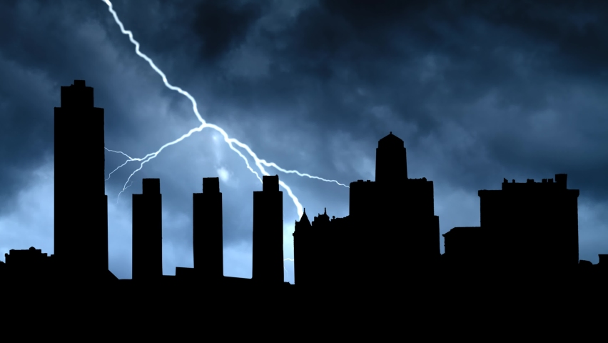 Lightningand and Thunderstorm flash over Skyline of New York capital, Albany, USA   Shutterstock HD Video #1070751691