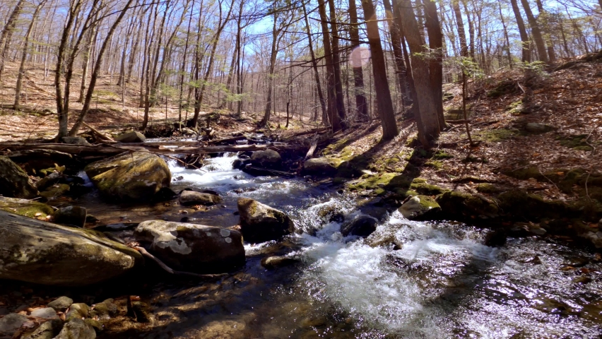 A beautiful mountain stream during early spring, after snow melt, in the Appalachian mountains. This is in the Catskill mountain sub-range in New York's Hudson Valley    Shutterstock HD Video #1070755444