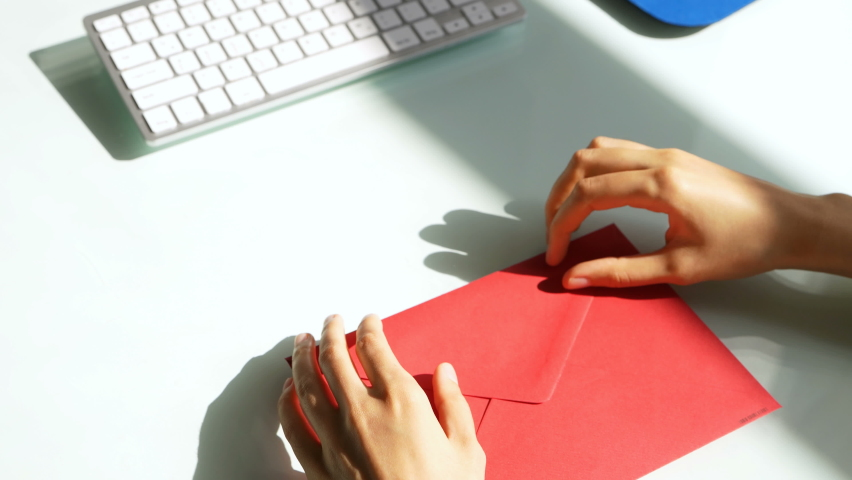Open Tax Audit Envelop. Invite Concept And Red Flags  Royalty-Free Stock Footage #1070762923