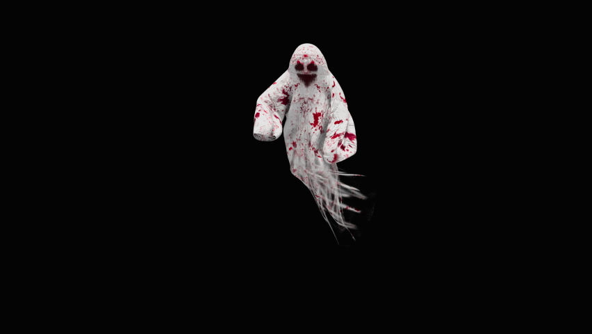 Halloween day. Ghost character bone dancing. 3d rendering, realistic CGI,3d mapping cartoon, Included in the end of the clip with Alpha matte. | Shutterstock HD Video #1070765404