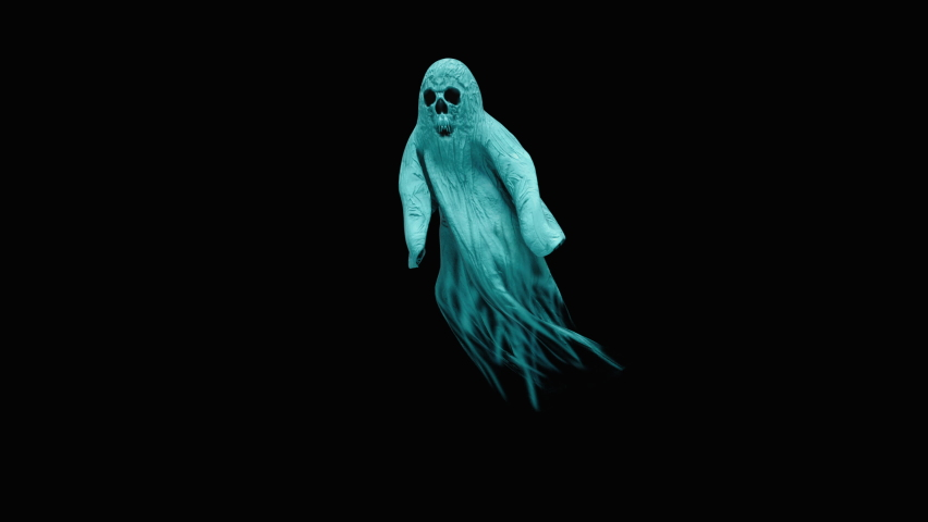 Halloween day. Ghost character bone dancing. 3d rendering, realistic CGI,3d mapping cartoon, Included in the end of the clip with Alpha matte. | Shutterstock HD Video #1070765416