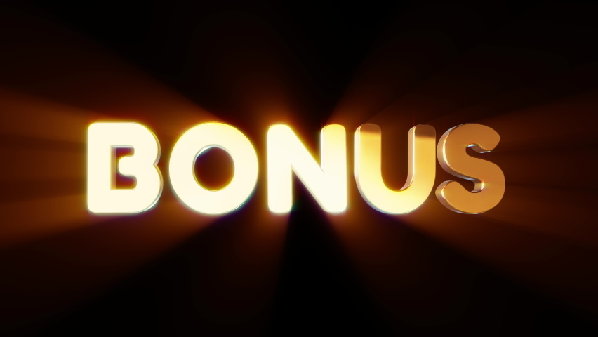 Word bonus in 3d cartoon style. Design text element for game, branding. Flying and rotating object. Bright dynamic animation on simple background. | Shutterstock HD Video #1070782921