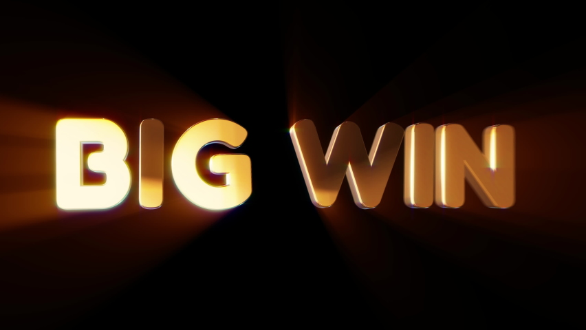 Word big win in 3d cartoon style. Design text element for game, branding. Flying and rotating object. Bright dynamic animation on simple background. | Shutterstock HD Video #1070782936