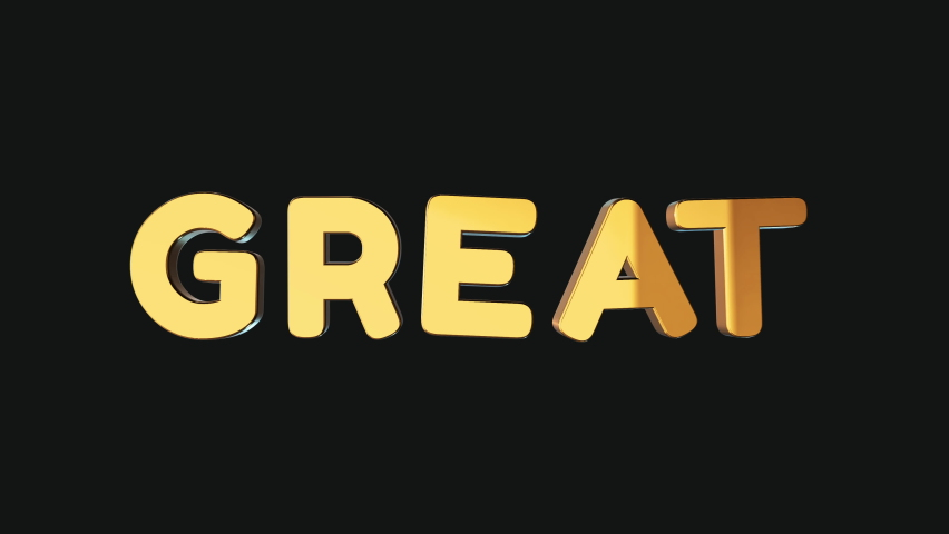 Word great in 3d cartoon style. Design text element for game, branding. Flying and rotating object. Bright dynamic animation on simple background. | Shutterstock HD Video #1070782942