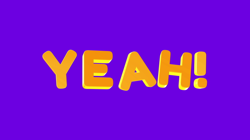 Word yeah in 3d cartoon style. Design text element for game, branding. Flying and rotating object. Bright dynamic animation on simple background. | Shutterstock HD Video #1070782945