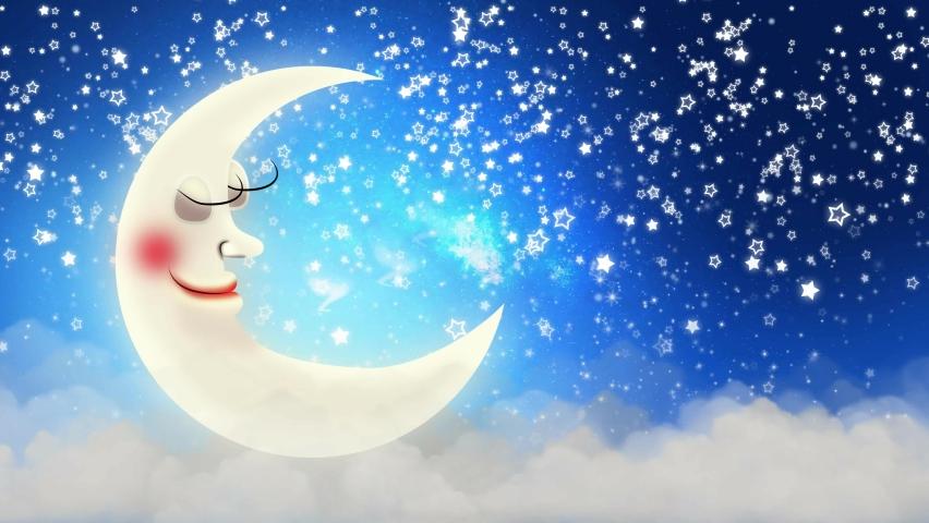 Beautiful moon cartoon on clouds, night stars, night fantasy, loop animation background.   Shutterstock HD Video #1070787652