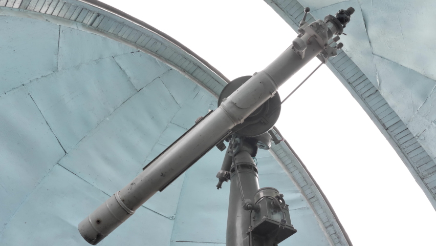 Indoor Telescope In A Astronomical Observatory When The Dome Door Closes. | Shutterstock HD Video #1070789767