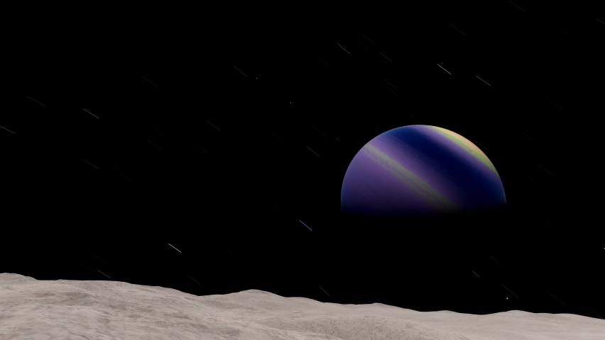 A view of a strange barren alien moon, tidally locked around a beautiful purple gas giant in an alien solar system. A science fiction exoplanet 3D render animation | Shutterstock HD Video #1070791354