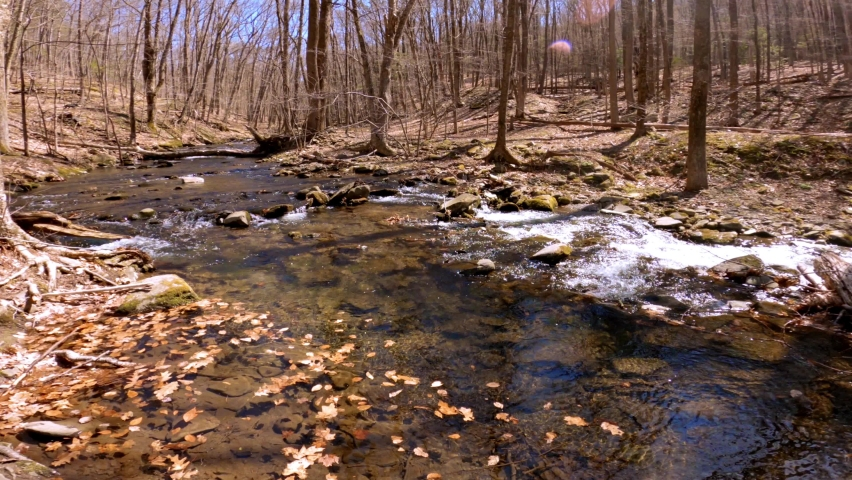 A beautiful, gentle mountain stream during early spring, after snow melt, in the Appalachian mountains. This is in the Catskill mountain sub-range in New York's Hudson Valley    Shutterstock HD Video #1070791606