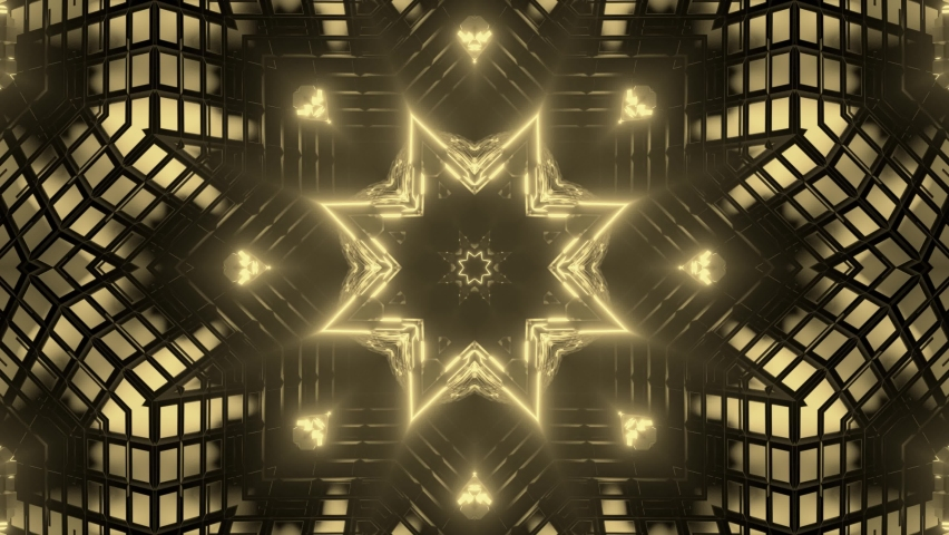 Golden flower and star shapes warping in each other in an endless loop. Flickering glowing light. | Shutterstock HD Video #1070791798