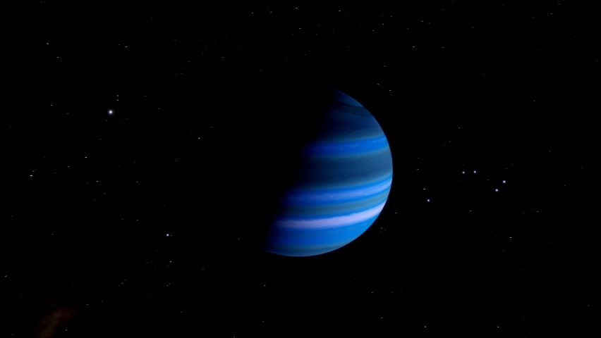 Orbiting over a beautiful dark blue gas giant, a science fiction exo-planet with many strange alien moons | Shutterstock HD Video #1070791819