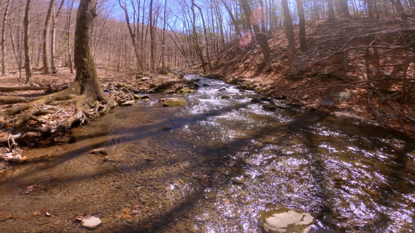 A beautiful, gentle mountain stream during early spring, after snow melt, in the Appalachian mountains. This is in the Catskill mountain sub-range in New York's Hudson Valley    Shutterstock HD Video #1070791867