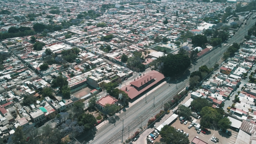 Aerial frontal view of Queretaro train station and rails in front | Shutterstock HD Video #1070792125