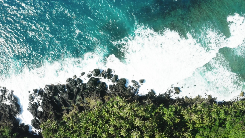 Aerial top down view of coast line of Siargao Island, Philippines. White waves crushing over rocks, turquoise water and palm trees. Peaceful and relaxing parallel layout | Shutterstock HD Video #1070792152