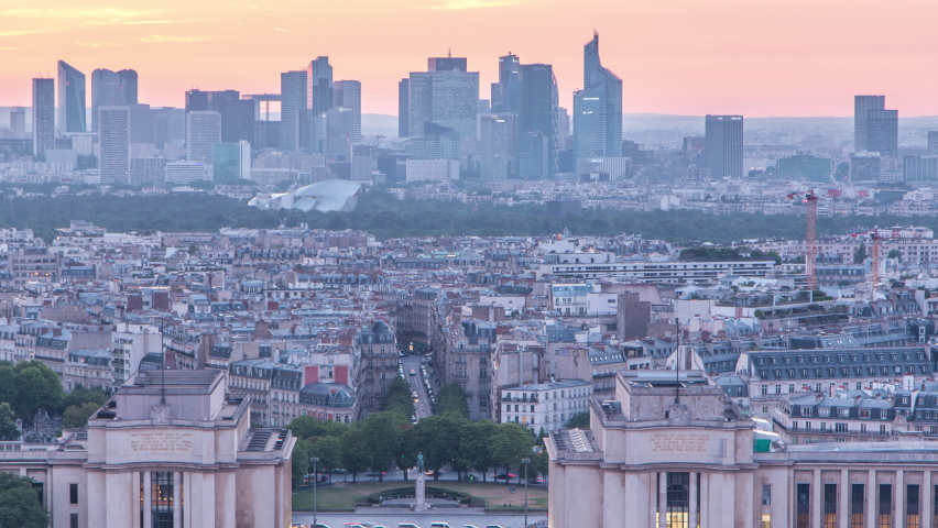 Aerial view over Trocadero day to night transition timelapse with the Palais de Chaillot seen from the Eiffel Tower in Paris, France. Top view from observation deck with modern skyscrapers at summer | Shutterstock HD Video #1070795218