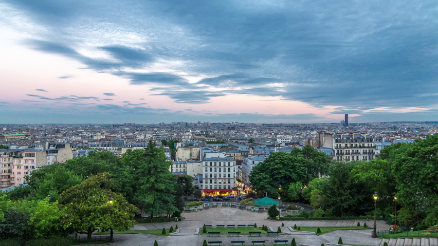Beautiful Paris cityscape day to night transition timelapse seen from Montmartre. Top view from viewpoint. Paris, France | Shutterstock HD Video #1070795281