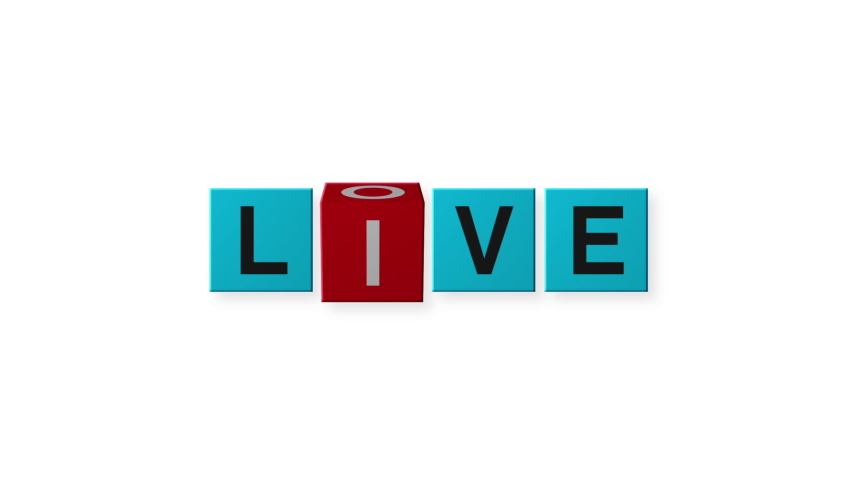 """Cube rotated with word """"love"""" to """"live"""" 