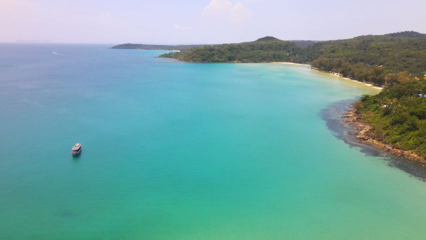 Aerial view of nature tropical paradise island beach enjoin a good summer beautiful time on the beach with clear water and blue sky in Koh kood or Ko Kut, Trat Thailand. | Shutterstock HD Video #1070796505
