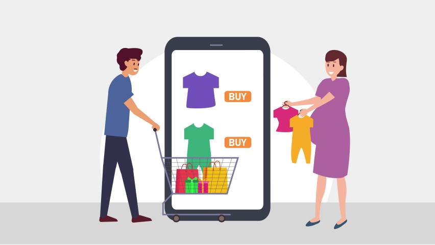 Young couple animation buying baby clothes in online shop while using a mobile phone. Cartoon in 4k resolution | Shutterstock HD Video #1070796784