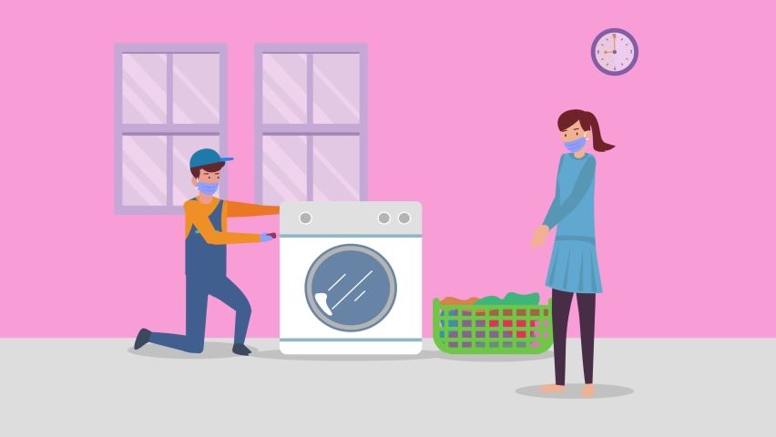 Young woman animation wearing face mask while looking at repairman fixing the washing machine at home. Cartoon in 4k resolution | Shutterstock HD Video #1070796787