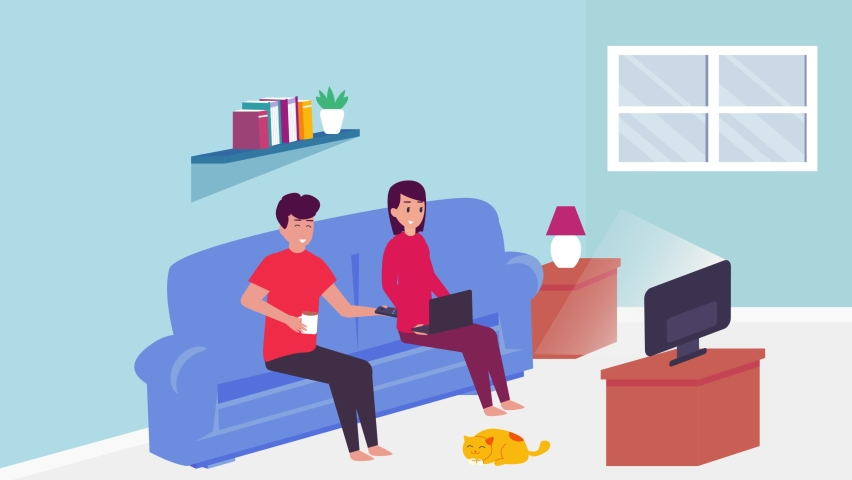 Young couple animation watching on the television and using a laptop on the sofa while quality time in the living room at the home. Cartoon in 4k resolution | Shutterstock HD Video #1070796790