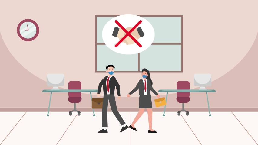 Two business people animation doing greeting feet bump in the office while wearing face mask during new normal lifestyle. Cartoon in 4k resolution | Shutterstock HD Video #1070796793