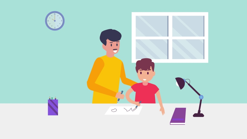 Young father and little son animation drawing together at home while enjoying leisure time at home. Cartoon in 4k resolution | Shutterstock HD Video #1070796805