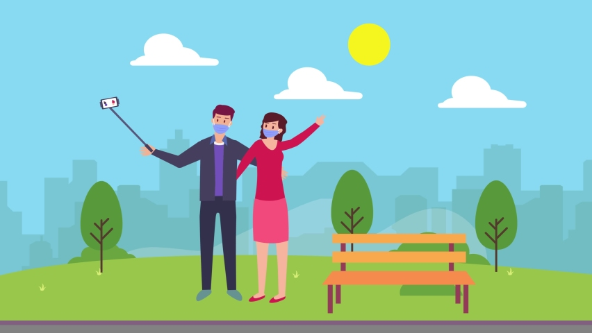 Young couple animation take selfie photo with cellphone at the park while wearing face mask in new normal lifestyle. Cartoon in 4k resolution | Shutterstock HD Video #1070796808