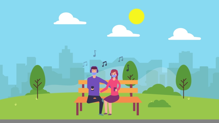 Young couple animation using headphones to listening music together in the park while wearing face mask in new normal lifestyle. Cartoon in 4k resolution | Shutterstock HD Video #1070796811