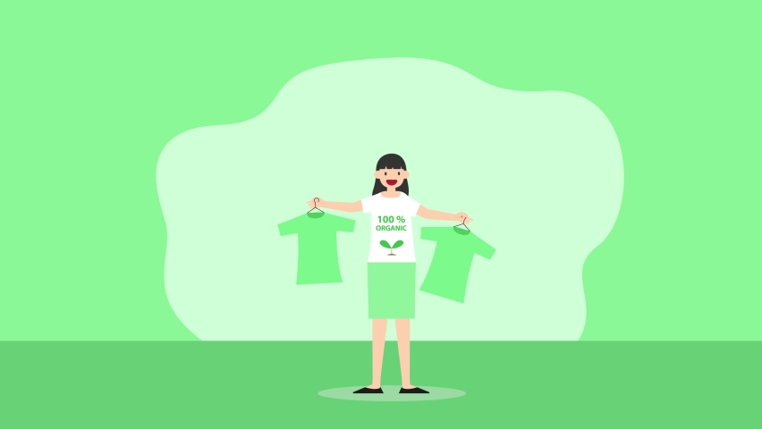 Young woman animation holding organic clothes while standing with green background. Cartoon in 4k resolution | Shutterstock HD Video #1070796814