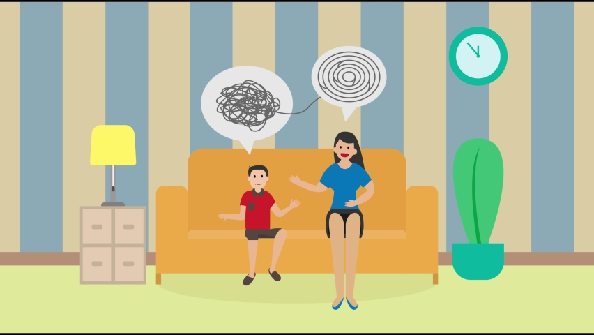 Young woman animation doing psychology treatment to little boy while sitting on the sofa. Cartoon in 4k resolution together | Shutterstock HD Video #1070796817