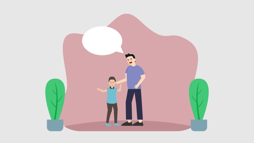 Young father animation feeling angry with his little son with copy space over his head. Cartoon in 4k resolution | Shutterstock HD Video #1070796832