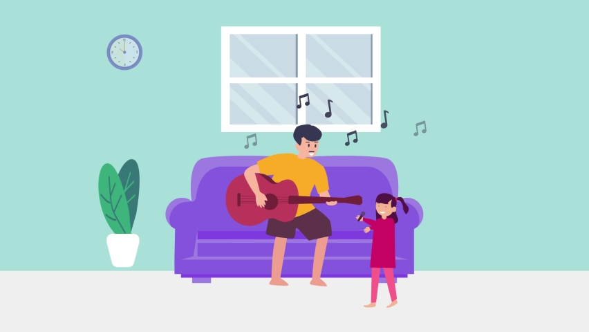 Young father and little daughter animation singing a song together while enjoying leisure time in the living room. Cartoon in 4k resolution | Shutterstock HD Video #1070796835