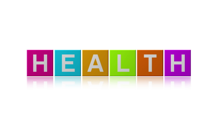"Colorful cube with word "" health food "" 