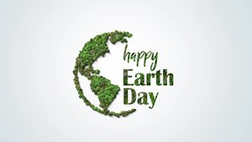 Earth day concept video footage. 3d eco friendly design.Earth map shapes with trees water and shadow. Save the Earth concept. Happy Earth Day, 22 April.