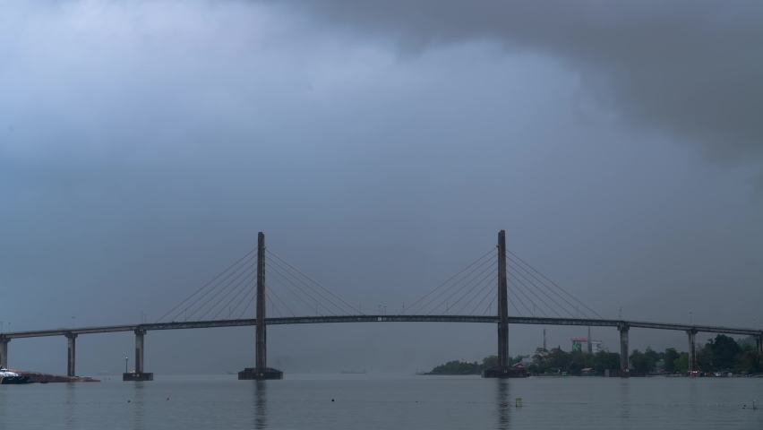 Time Lapse of Merah Putih Cable Stayed Bridge in Ambon Maluku Moluccas Indonesia on Cloudy Day | Shutterstock HD Video #1070798032