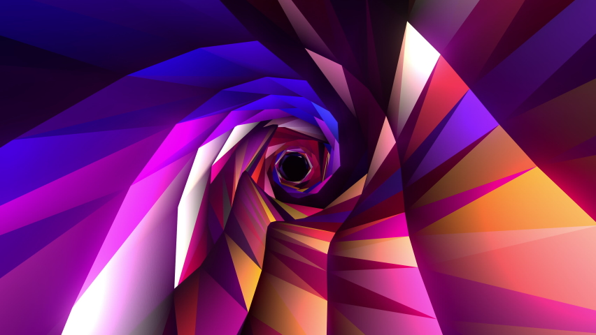 Abstract Colorful Flashing Neon Low Poly Futuristic Tunnel Loop Animation. 4K 3D render seamless loop Sci-Fi cyberpunk background. Infinite travel through abstract neon modern tunnel. VJ Music loop. | Shutterstock HD Video #1070799532
