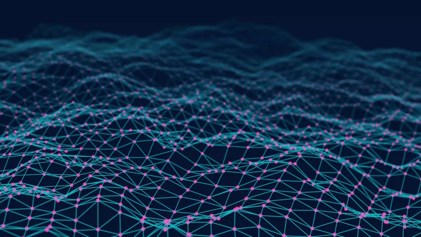 Data technology illustration. Abstract wave with connecting dots and lines. Digital background. 3d rendering. Seamless loop. 4k Royalty-Free Stock Footage #1070892043